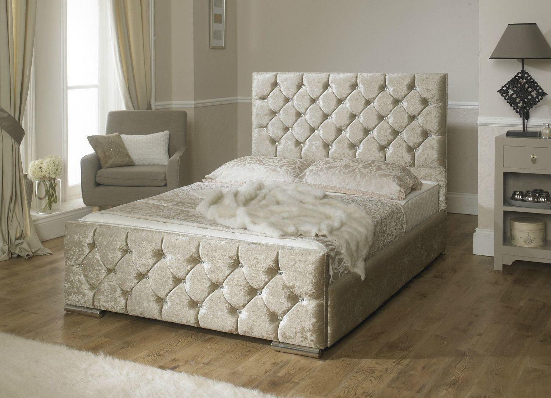 luxury monoco crushed velvet fabric upholstered storage bed 4 colours - Luxury Storage Beds