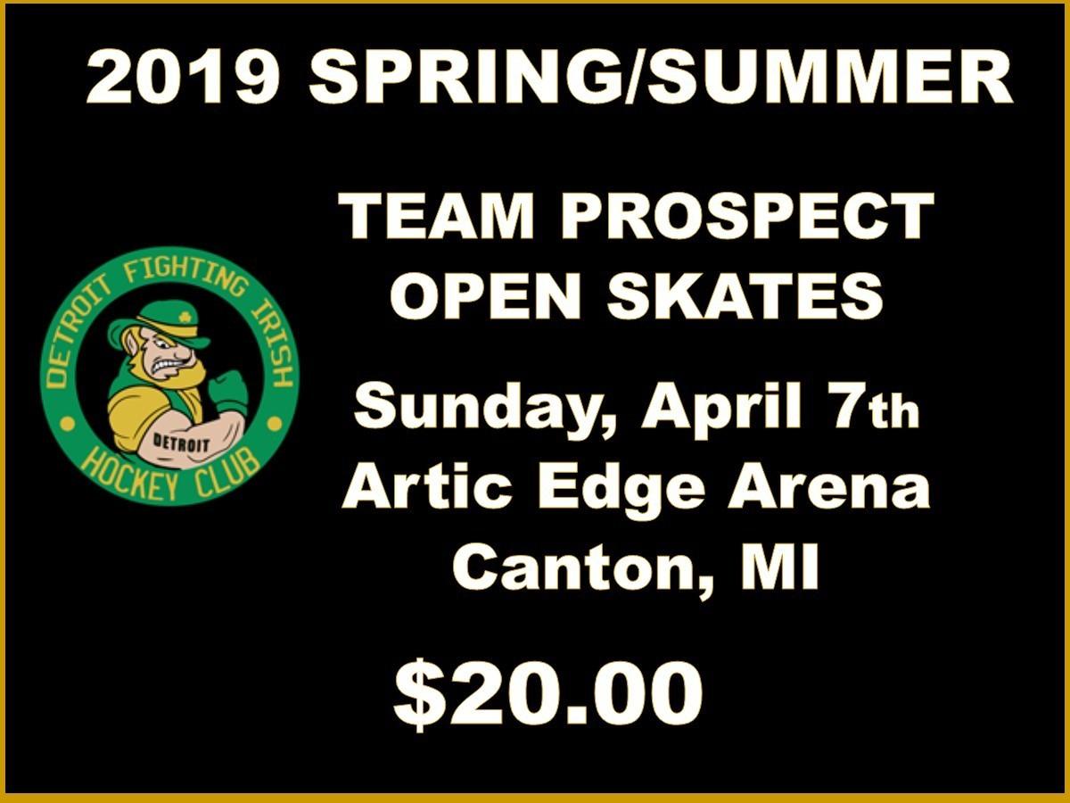 2019 SPRING/SUMMER TEAM PROSPECT OPEN SKATES - Sunday, April 7th Skate $20.00