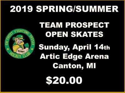 2019 SPRING/SUMMER TEAM PROSPECT OPEN SKATES - Sunday, April 14th Skate $20.00
