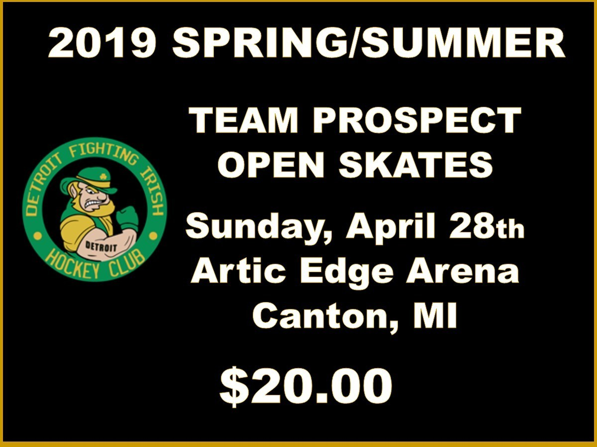2019 SPRING/SUMMER TEAM PROSPECT OPEN SKATES - Sunday, April 28th Skate $20.00