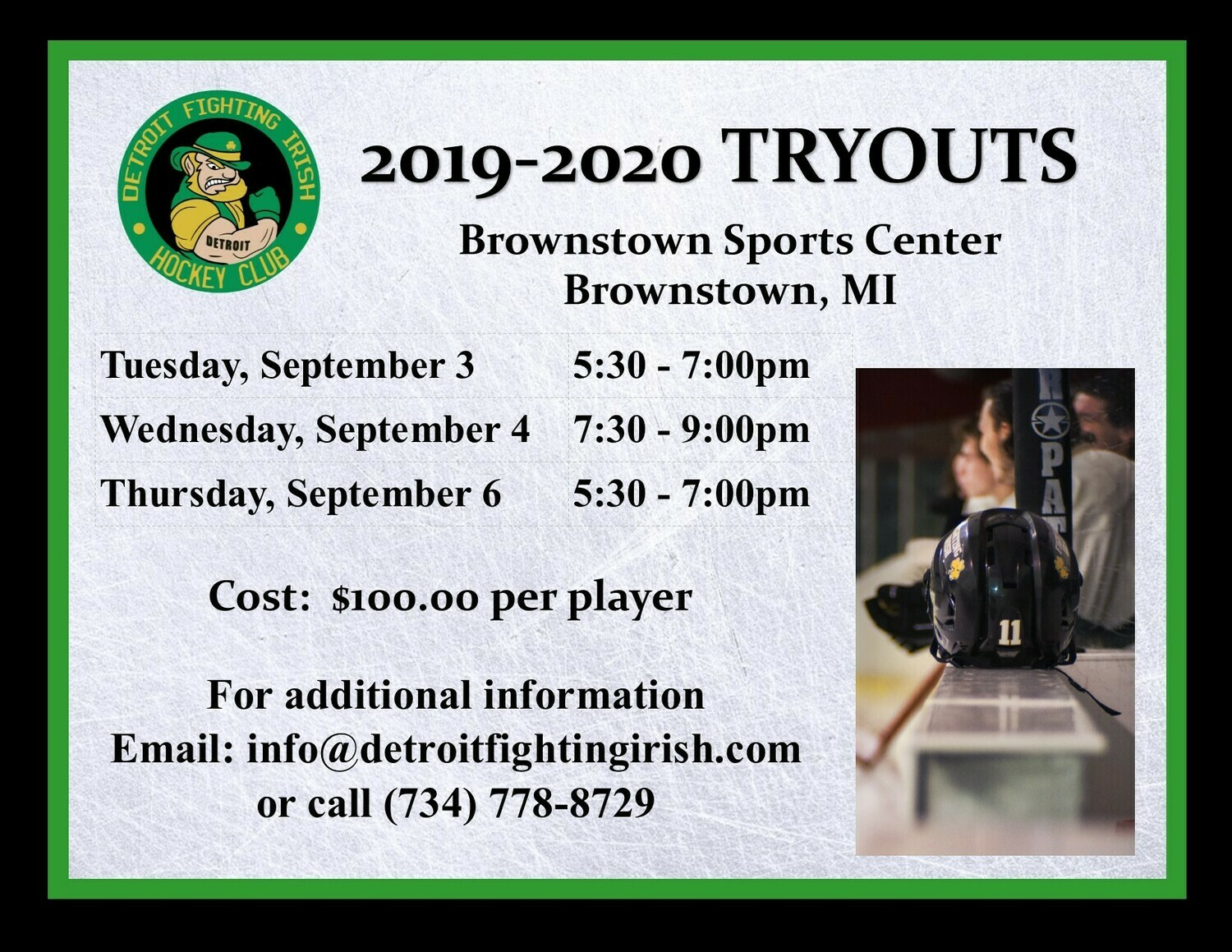 2019 DETROIT FIGHTING IRISH TRYOUT CAMP SEPTEMBER 3-5  BROWNSTOWN SPORTS CENTER