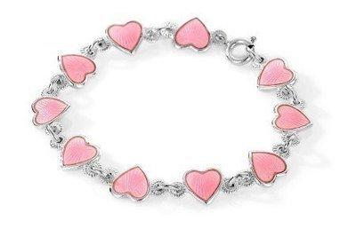 Rosa Hjerter armbånd i sølv