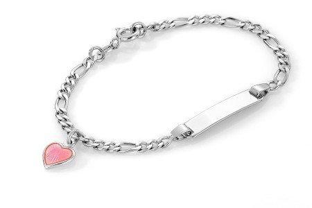 Rosa hjerte ID-armbånd i sølv