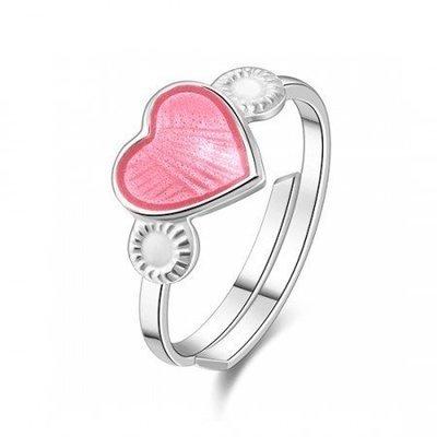 Rosa hjerte ring i sølv