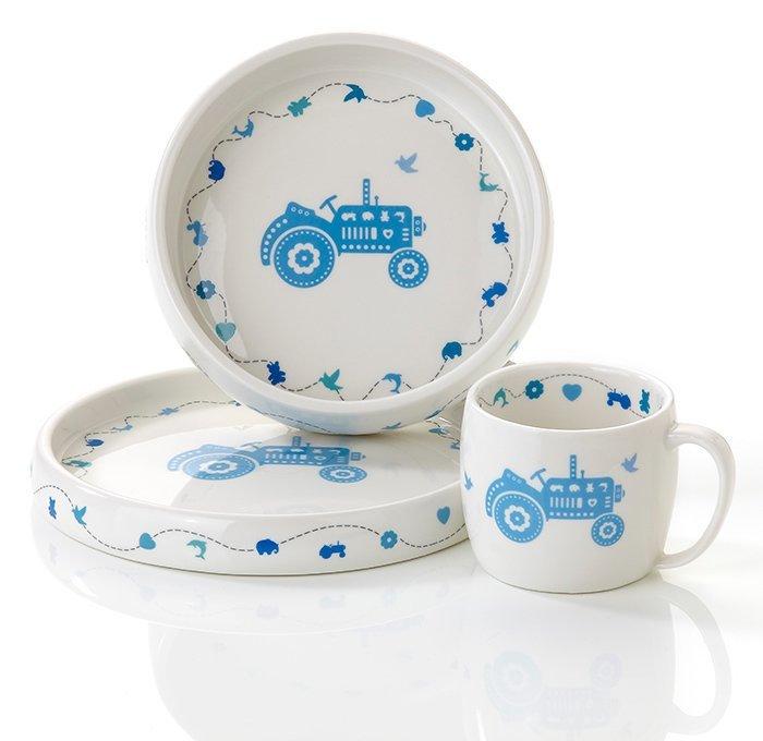 Blå traktor Servise i porselen
