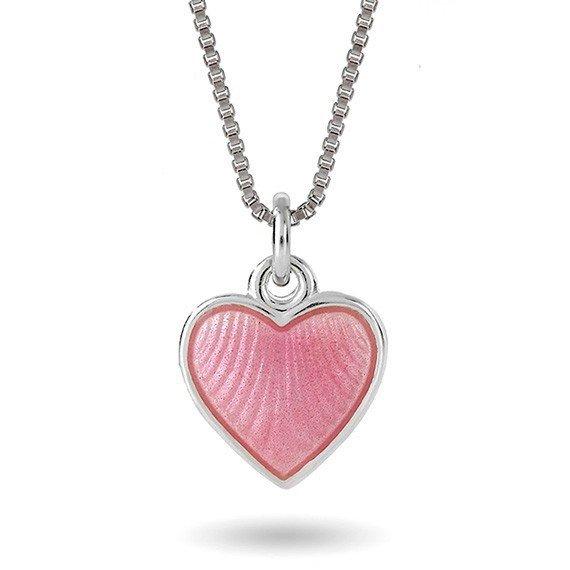 Rosa hjerte halskjede i sølv