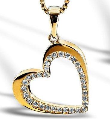 Gull hjerte anheng