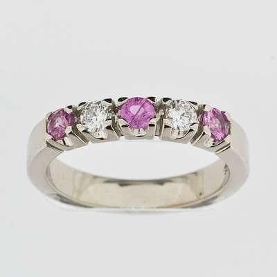 Allianse ring 0.20CT WSI/Rosa Safir