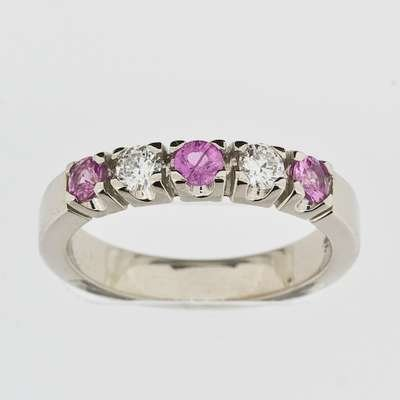 Allianse ring 0.20CT WSI/Rosa Safir