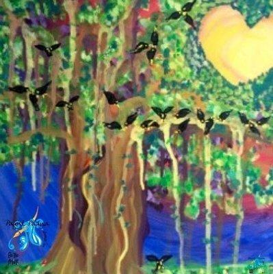 Paint Pāʻna notecard - Mynahs in the Banyan Tree