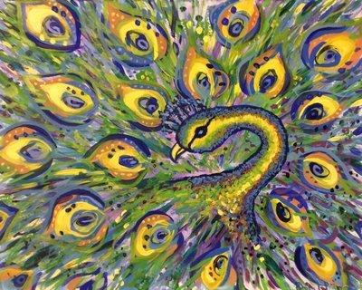 Original painting – Peacocks in Paradise