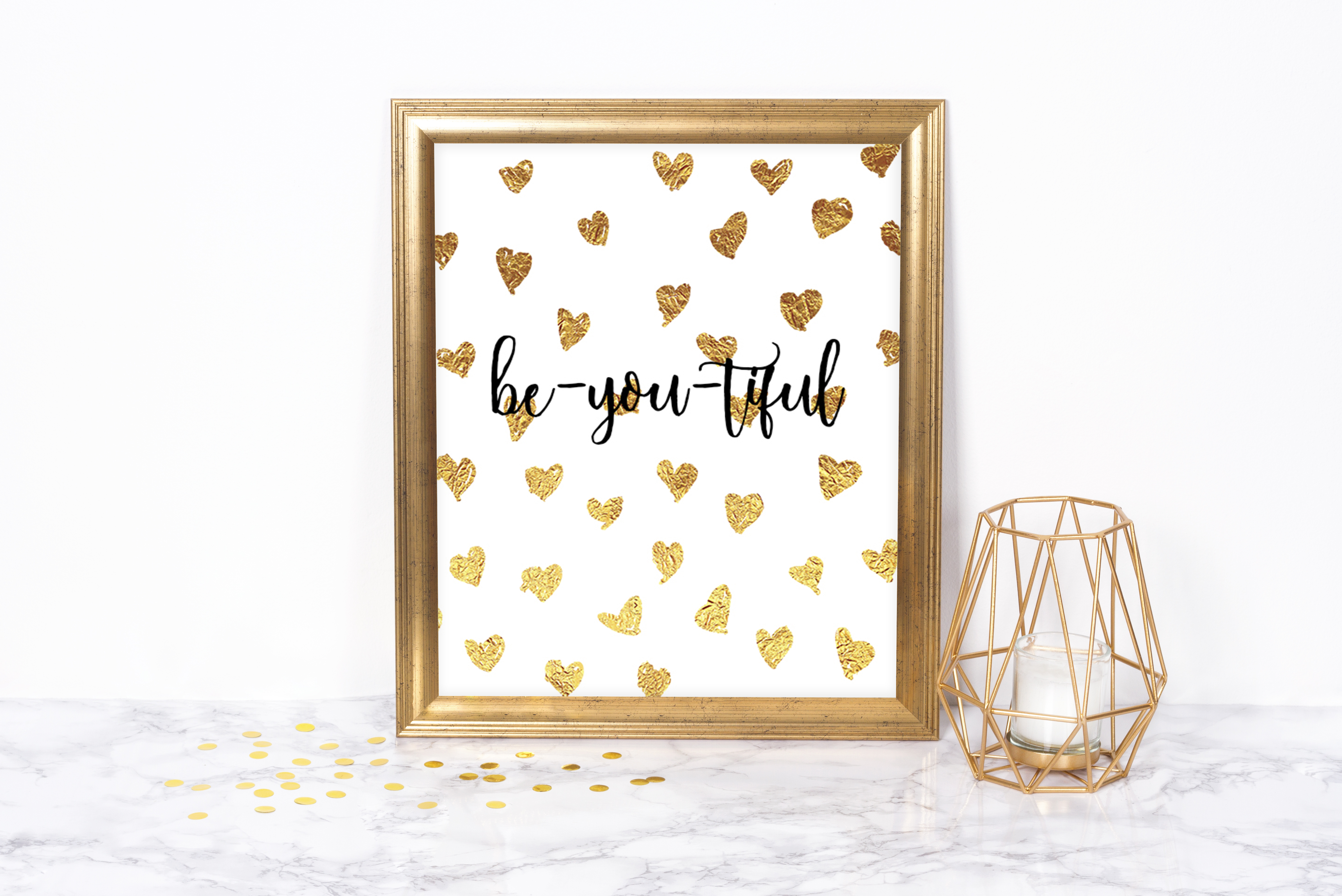 Be-you-tiful Gold Hearts Printable 00016