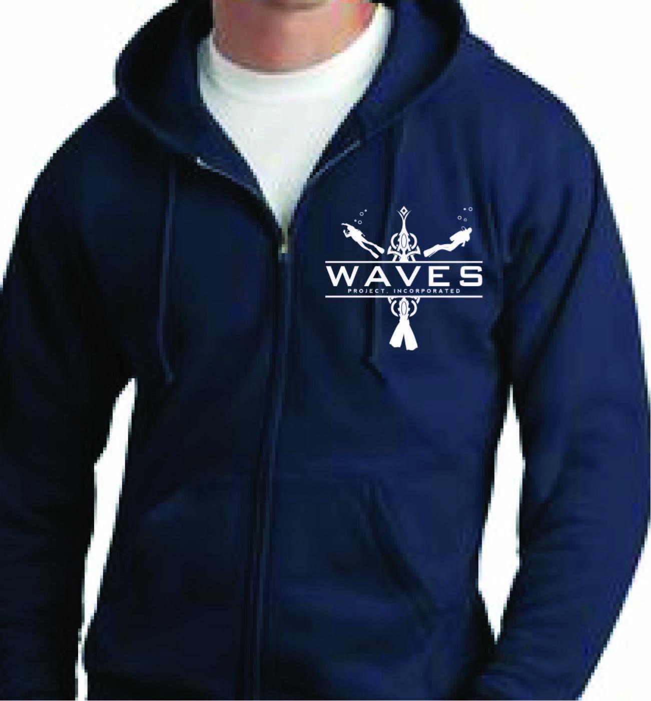 WAVES Zip up  Hooded Sweatshirt