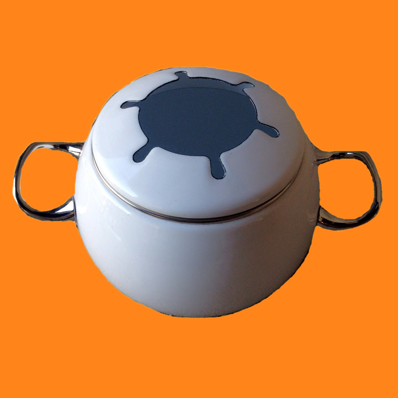 20% OFF - Fondue Pot White Enamel Pot Only No Burner or Skewers 00034