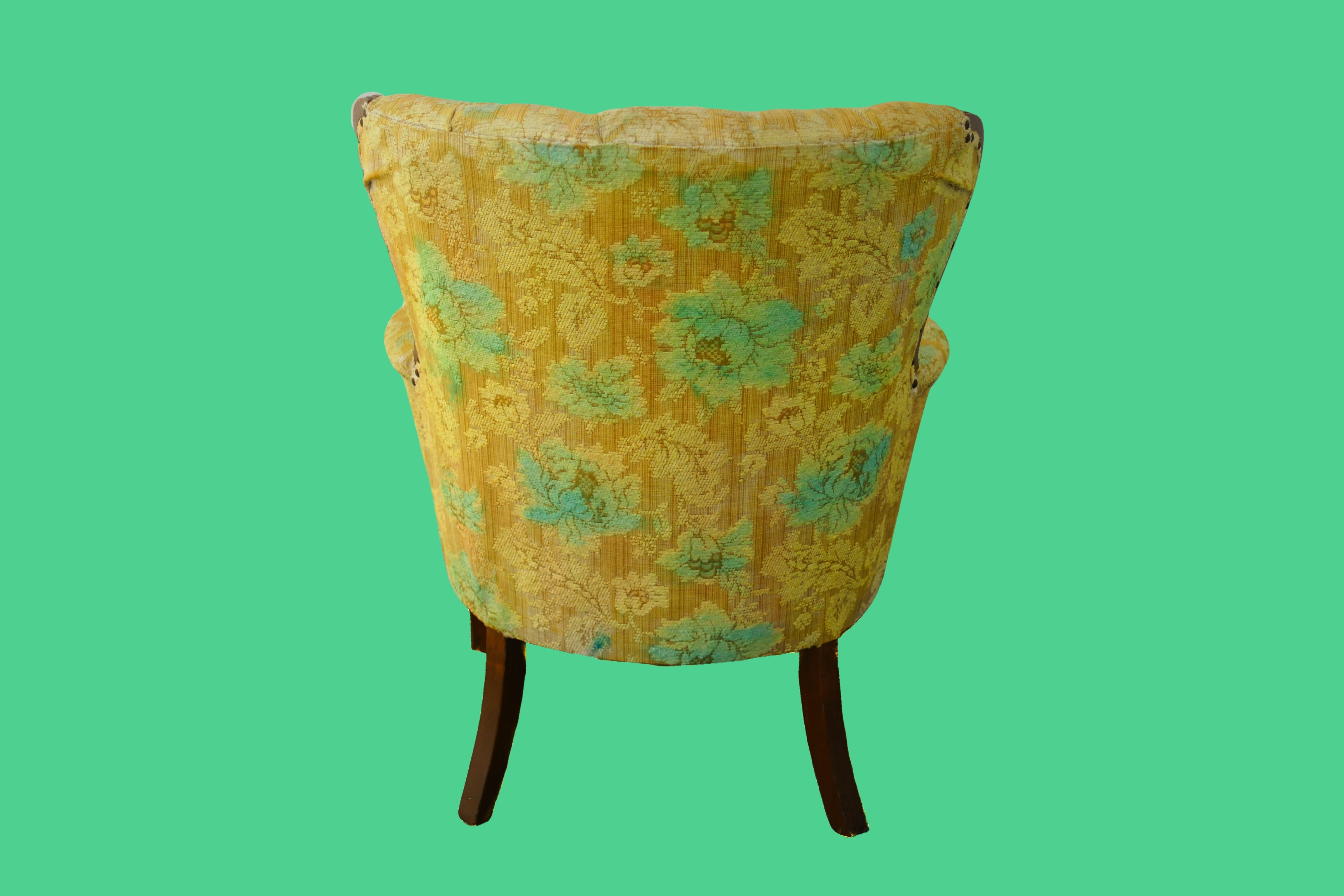 20% OFF -Overdyed Bright Yellow & Aqua Chair