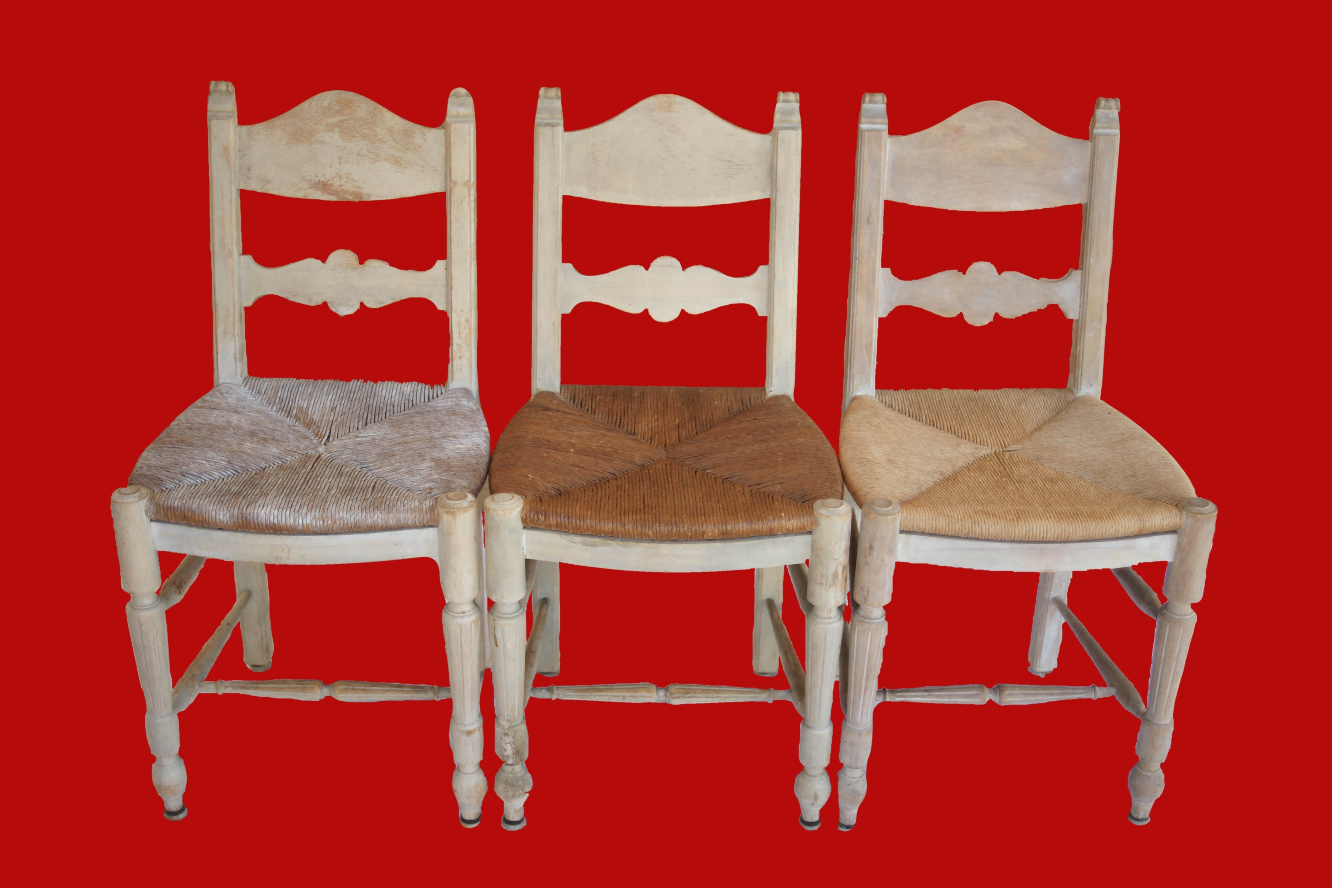 3 Rush Chairs Bleached Wood Frames