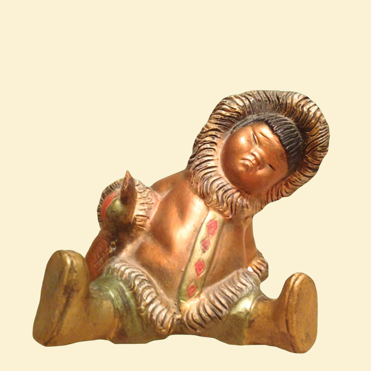 20% OFF - Inuit Figurine Made in Spain Red Clay Painted Gold 00009