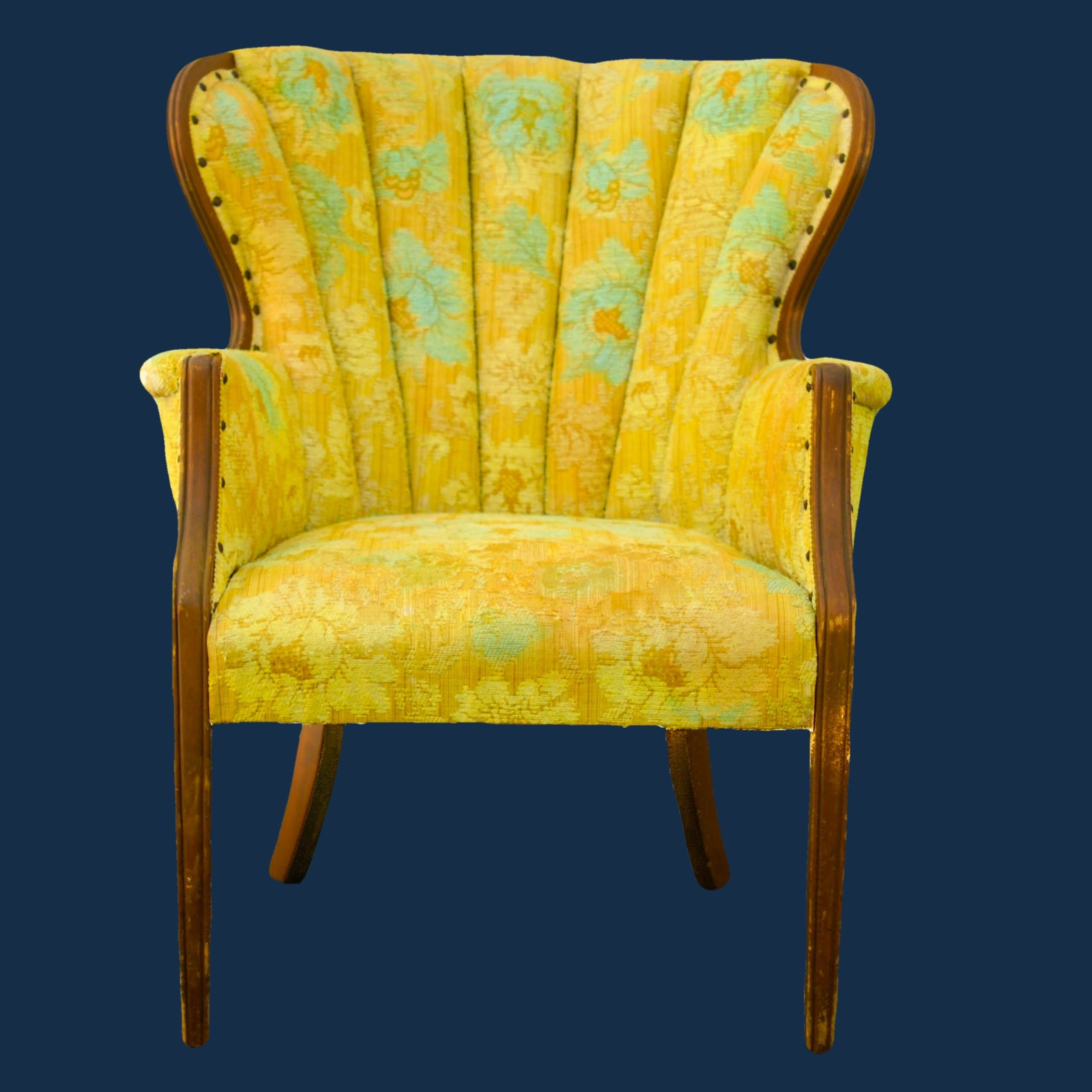 20% OFF -Overdyed Bright Yellow & Aqua Chair 00023E