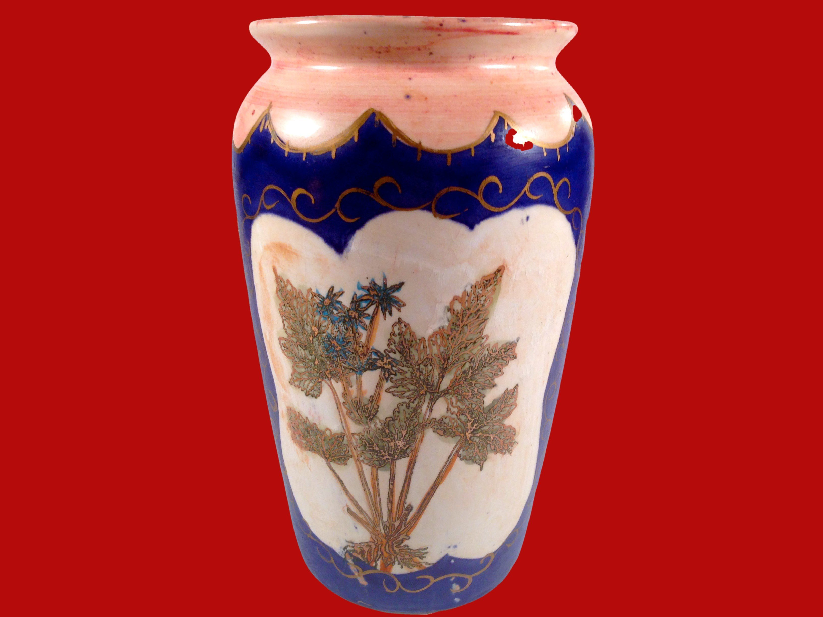 Painted Bohemian Vase Cobalt Blue Pink Ferns and Flowers