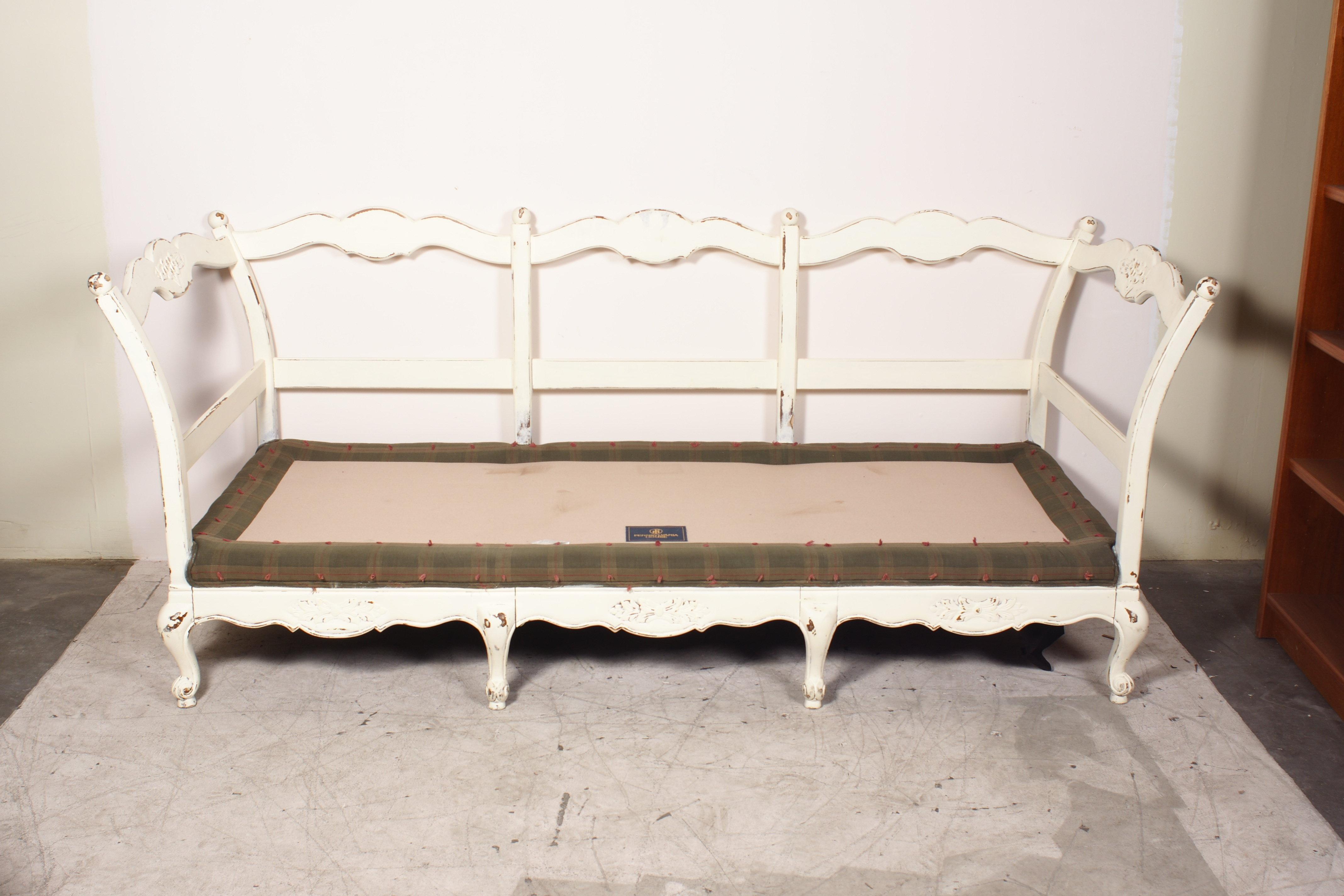 Wood Framed Rustic Plaid Sofa