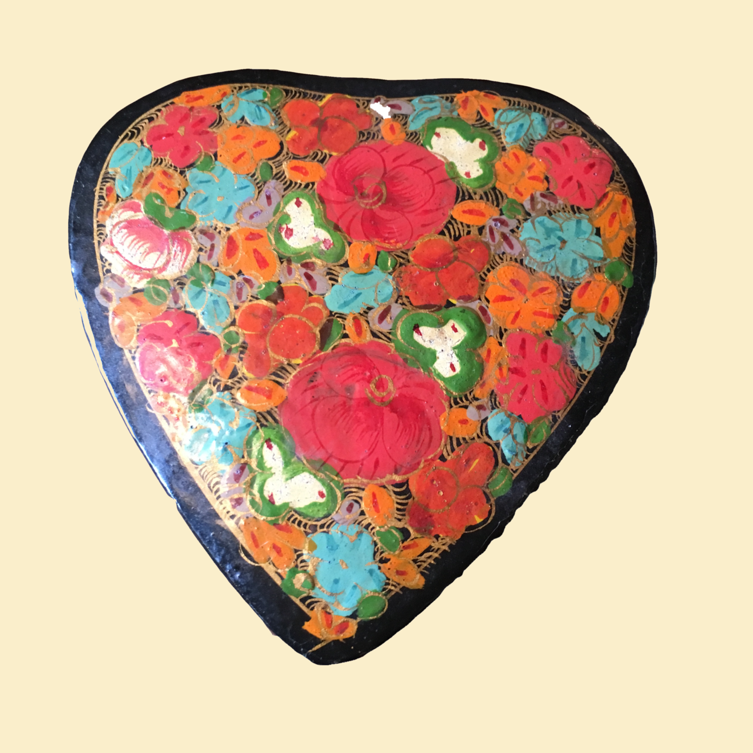 Papier Maché Lacquer Heart Shaped Box