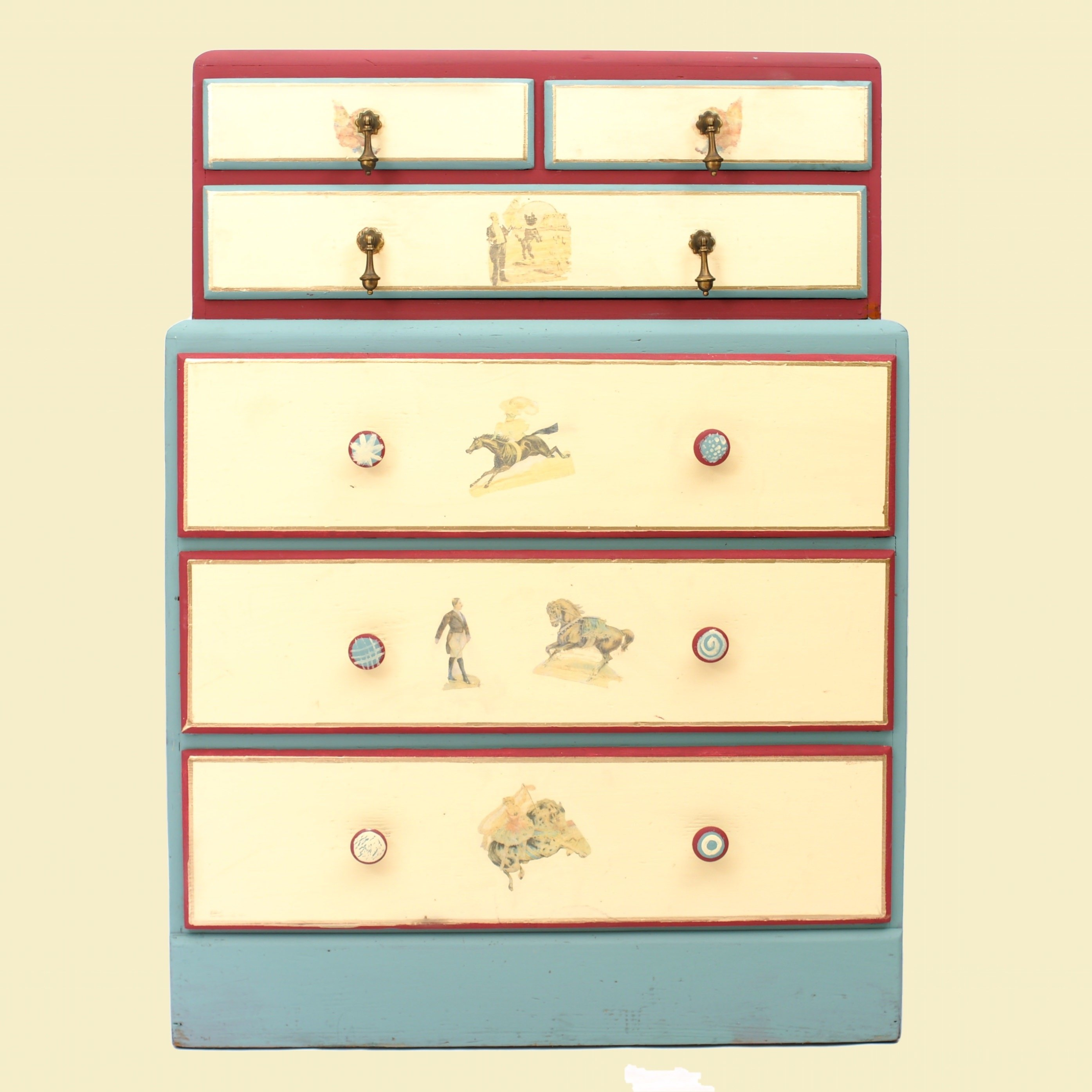 20% OFF -Circus-Themed Painted Dresser with Transfers Kids Room 00043B