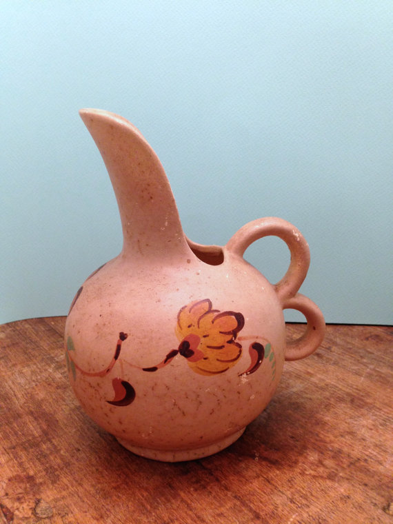 Vintage Dutch Pottery Pitcher Vase Hand Painted Made in Holland