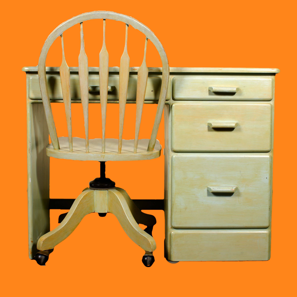 20% OFF -Painted Green Desk and Chair 00108