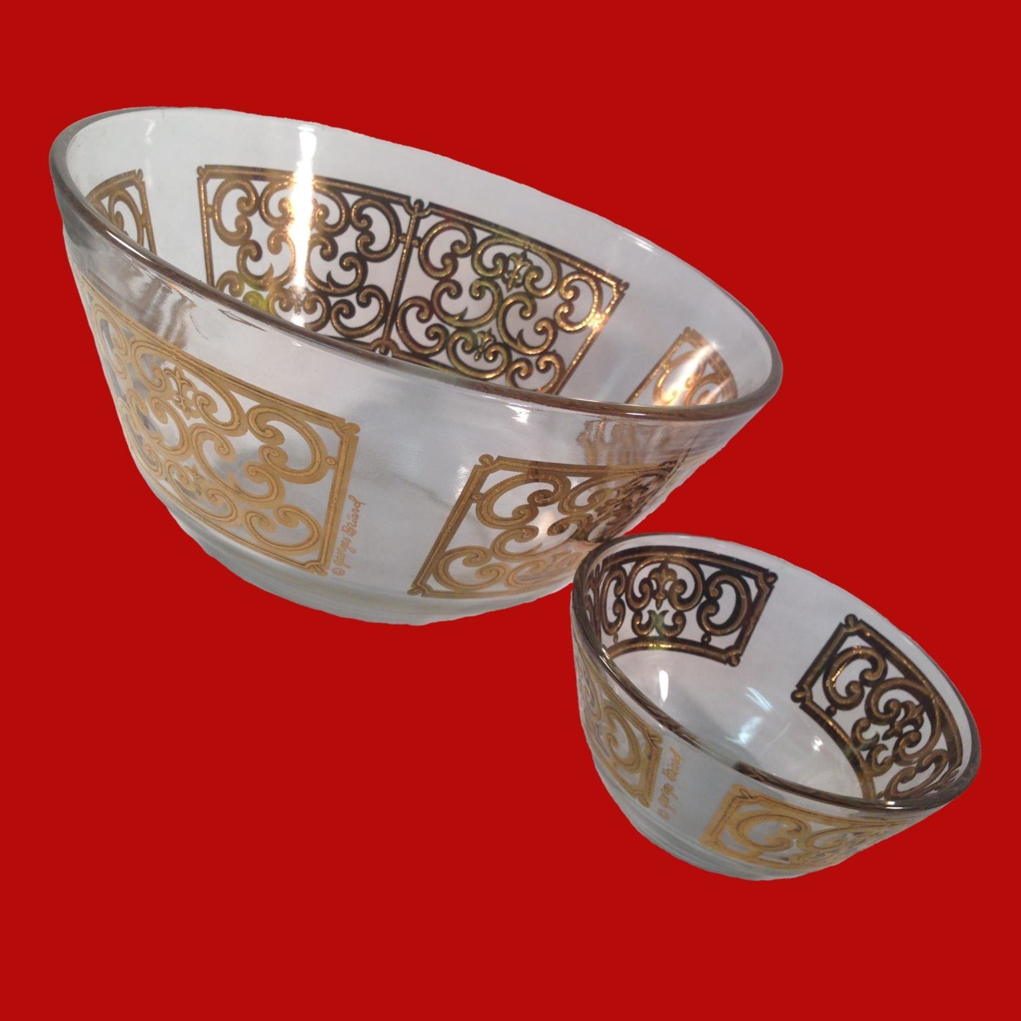 20% OFF - Georges Briard Chip and Dip Bowls Gold Decoration