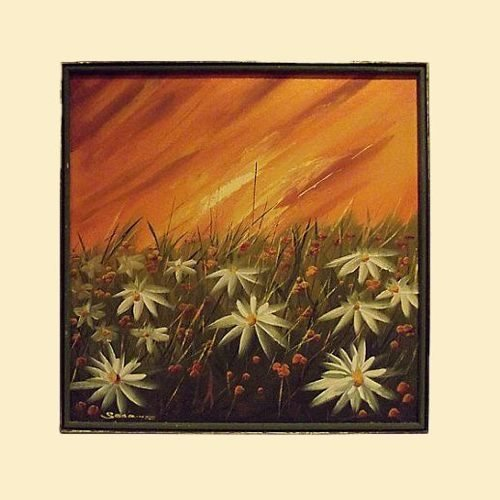 """20% OFF - Field of Daisies Oil Painting - Signed """"Searing"""" 00007"""