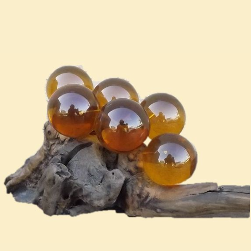 Amber Lucite Grapes on Driftwood