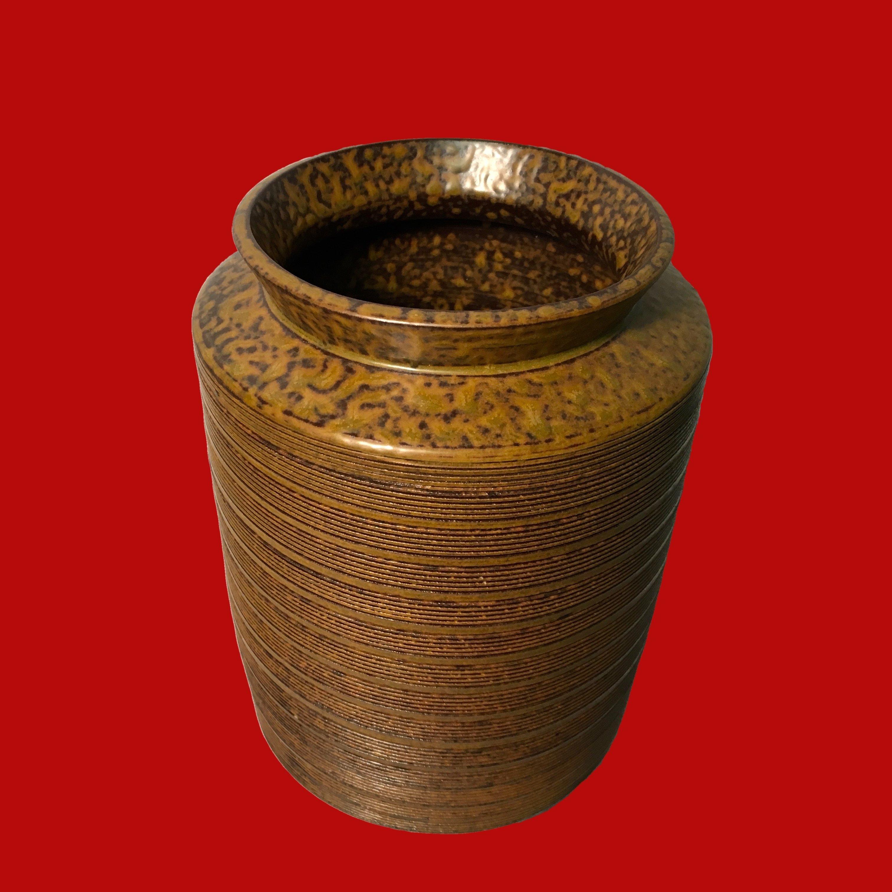 Mid Century Vase Paul Marshall Brown Ribbed 00164