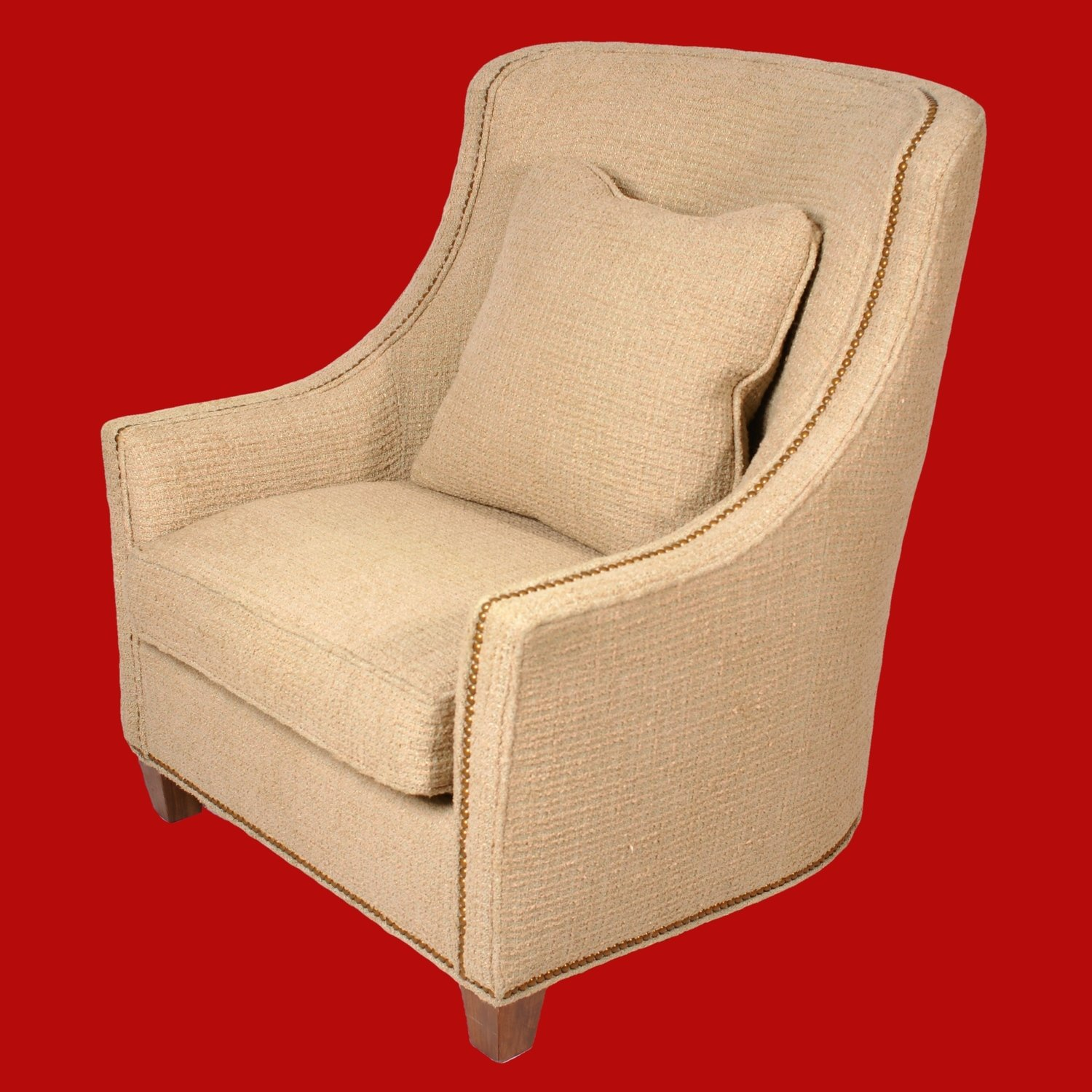 Large Club Chair with Nubby Oatmeal Fabric  and  Sweeping High Back