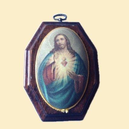 Sacred Heart of Jesus Portrait Hexagon Wood Frame Bubble Print Textured