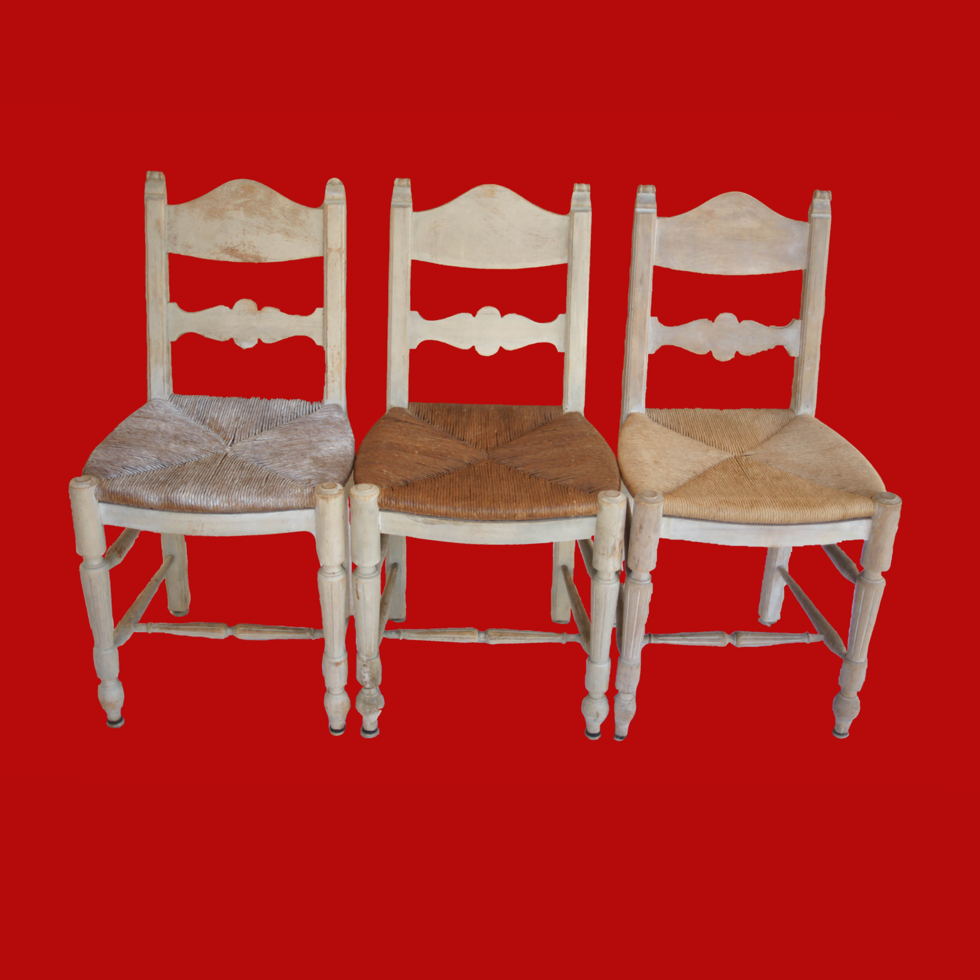 20% OFF -3 Rush Chairs Mix and Match Seats Bleached Wood Frames 00095E