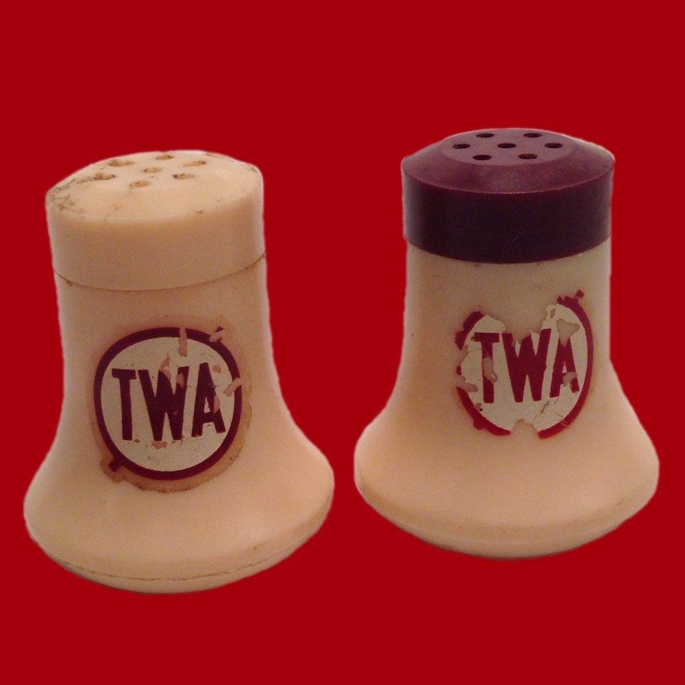 Tiny TWA Airplane Salt & Pepper Shakers Collectible Airline Memorabilia