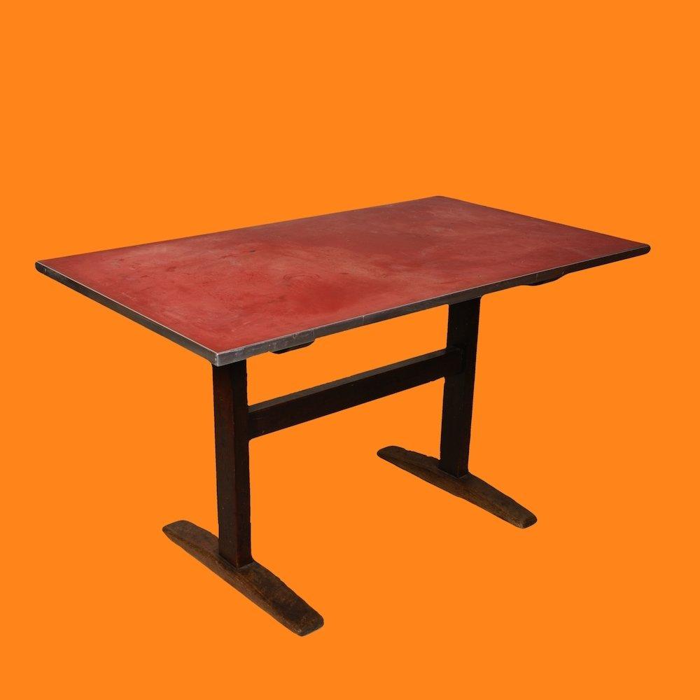 20% OFF -Rustic 1930's Linoleum-Top Wood Base Trestle Table/Desk 00231E