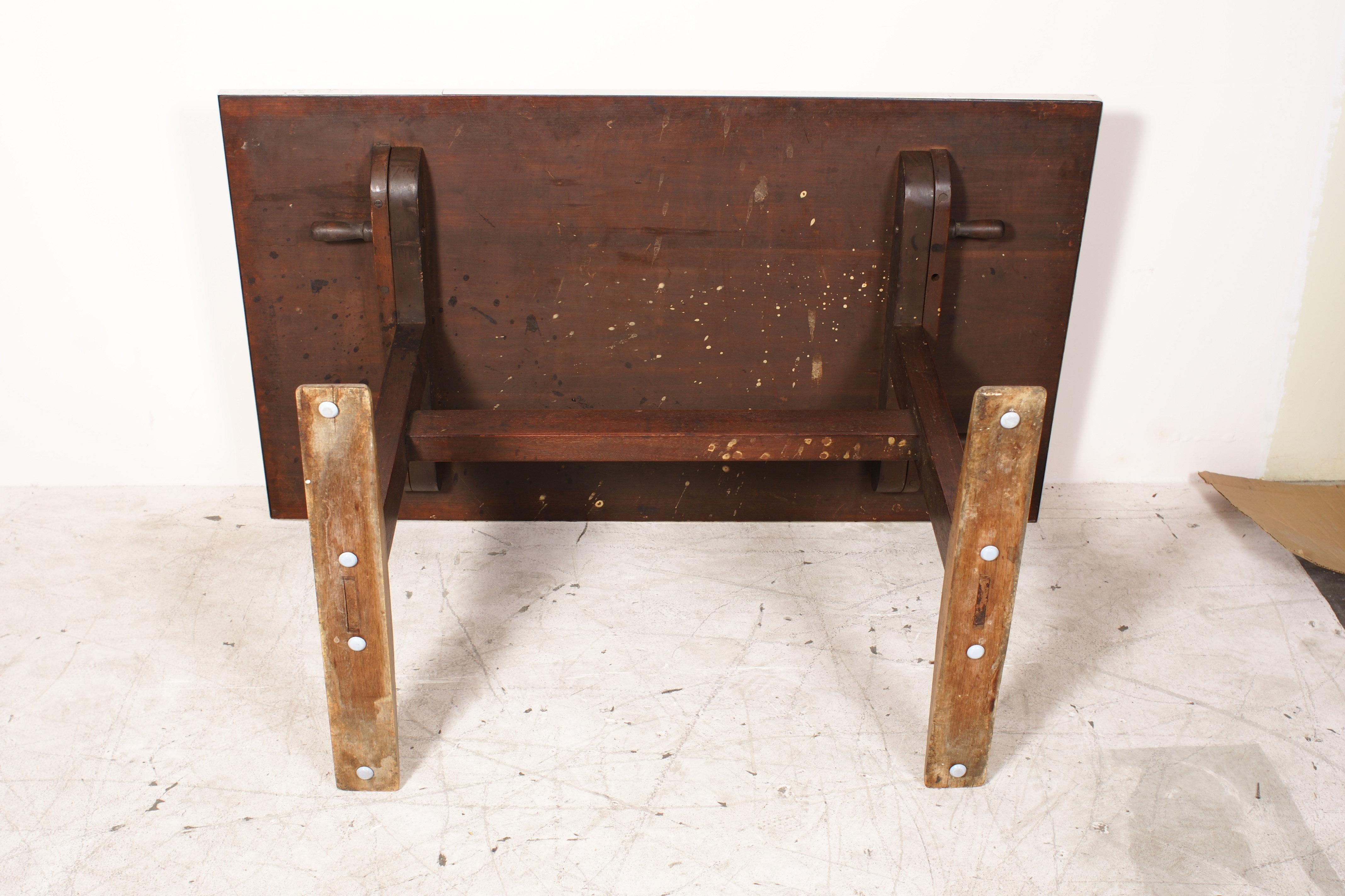 20% OFF -Rustic 1930's Linoleum-Top Wood Base Trestle Table/Desk