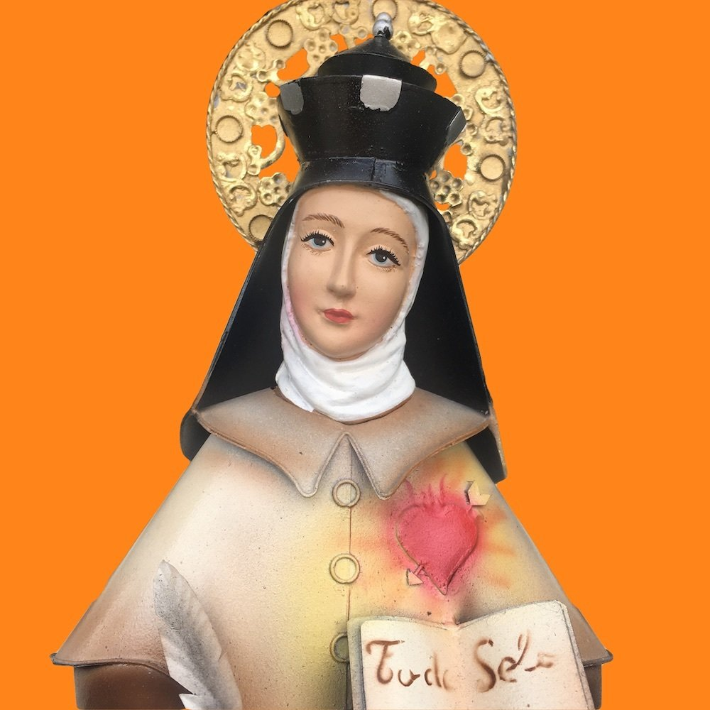 Tall Tin Statue of St. Teresa of Avila
