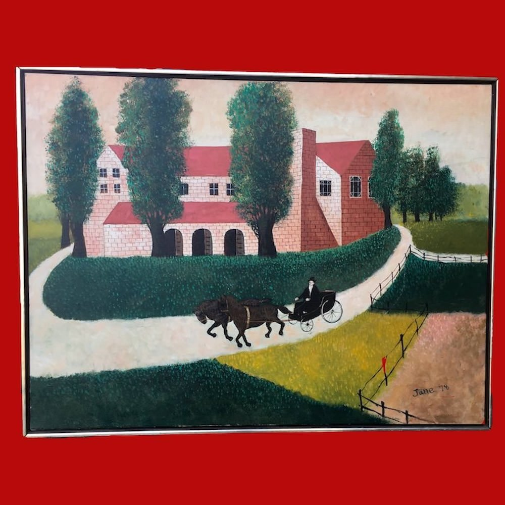 20% OFF - Large Folk Art Painting signed Jane '78 Oil on Canvas 00271