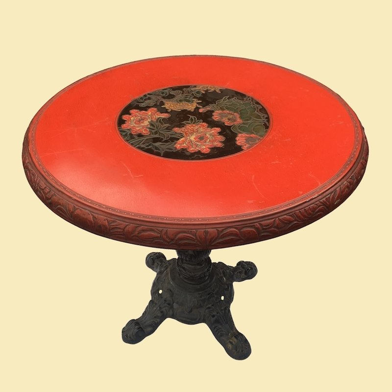 Red Floral Asian Round Table with Cast Iron Base 00281