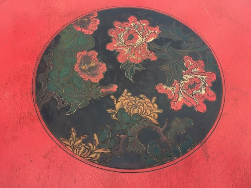 Red Floral Asian Round Table with Cast Iron Base