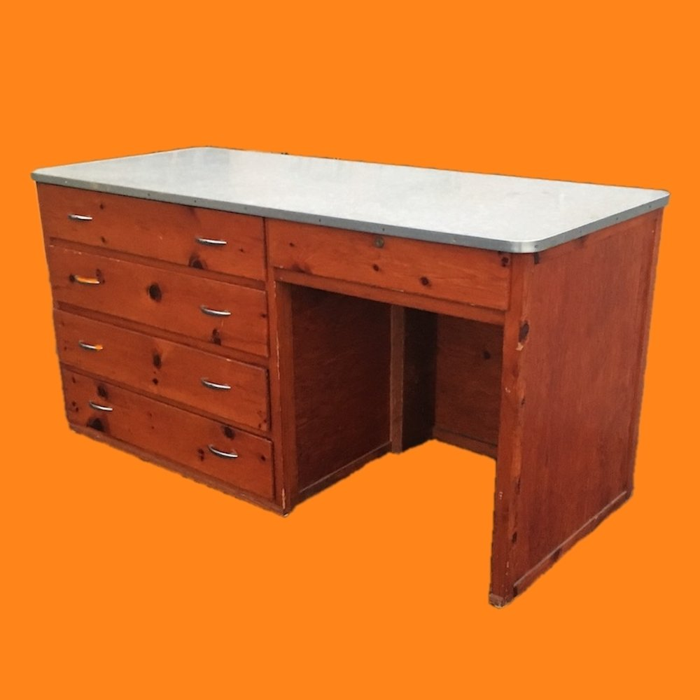 20% OFF -Large Pine Desk with White Formica Top