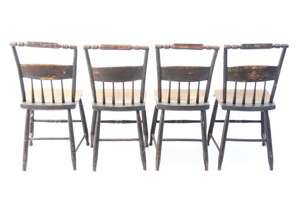 "Early 19th C. Stenciled Fancy Side Chairs Hitchcock Style signed ""Shear"" -s/4"
