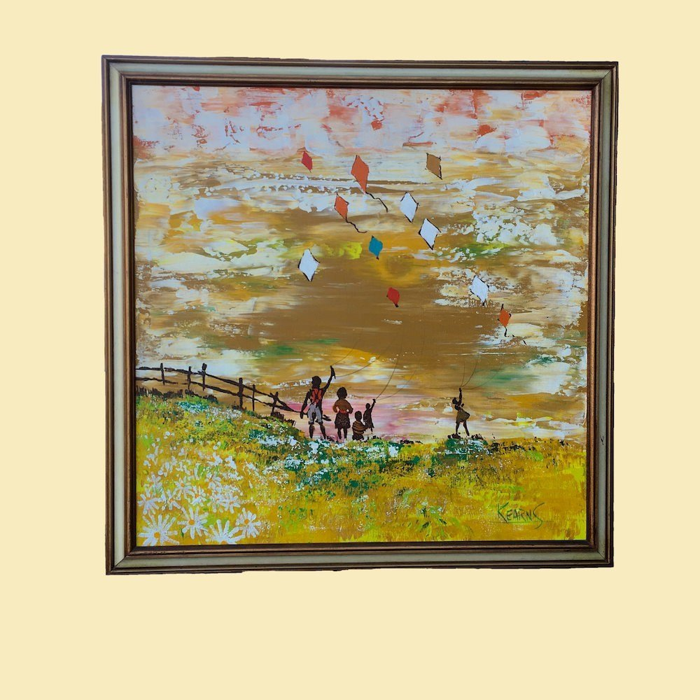 Oil Painting African American Kids Flying Kites