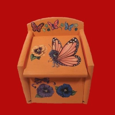 Wooden Box with Orange Butterfly Motif