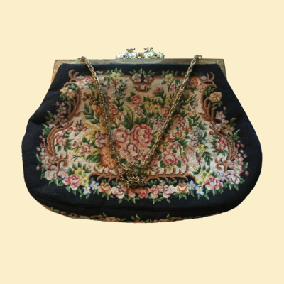 Small Petit Point Purse with Chain Handle