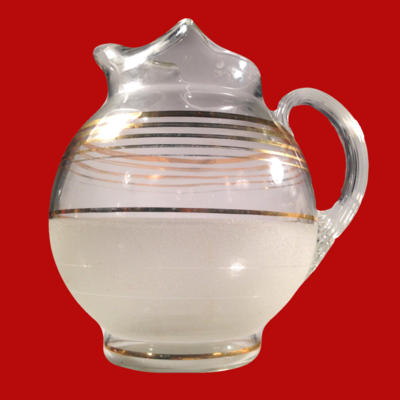 Mid Century Glass Ball Jug with Gold Bands - Barware