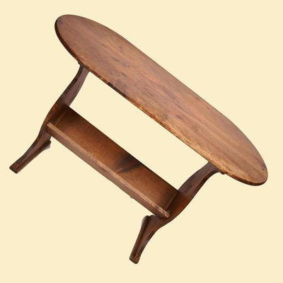 Rustic Oval Book Table w/Attached Bookshelf Underneath