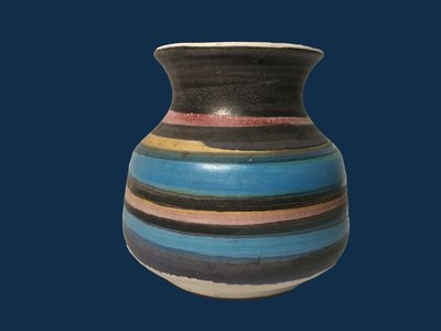 Pacific Stoneware Vase Hand Painted Signed B. Welsh Dated 1971